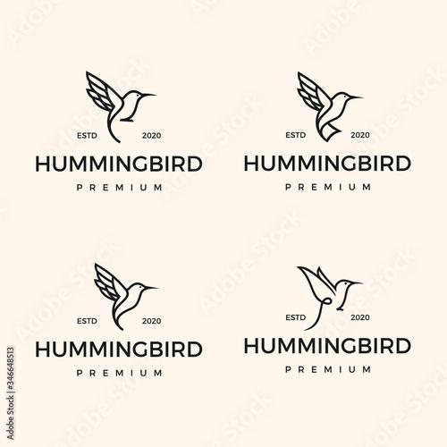 Fotografie, Tablou Set Monoline Hipster Hummingbird Logo Design