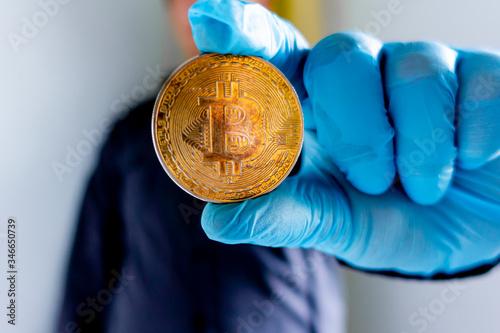 Obraz bitcoin, crypto, krypto, kryptowaluty, złoto, cyfrowe, cyfrowe złoto, portfel - fototapety do salonu