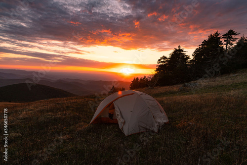 Camping on the Appalachian Trail at Whitetop Mountain, Virginia at Sunset Canvas Print