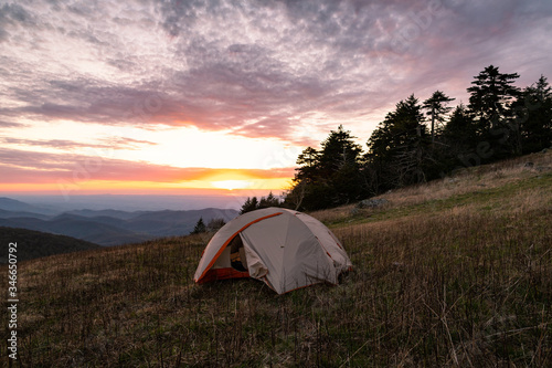Camping on the Appalachian Trail at Whitetop Mountain, Virginia at Sunset Wallpaper Mural