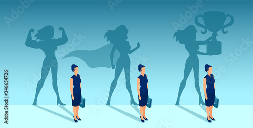 Fotografia Vector of a business woman with strong winner super hero shadows of her self
