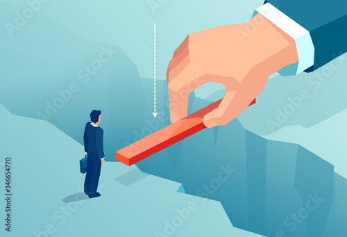 Vector of a small business man supported by unknown investor bridging the gap in Slika na platnu