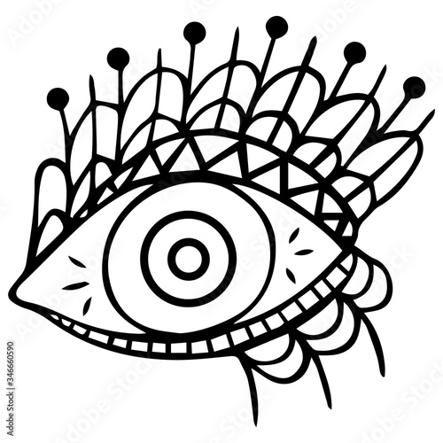 Black and white stylized hand-drawn eye with highlights, two circles in the pupil and eyelids on the eyelids Canvas Print