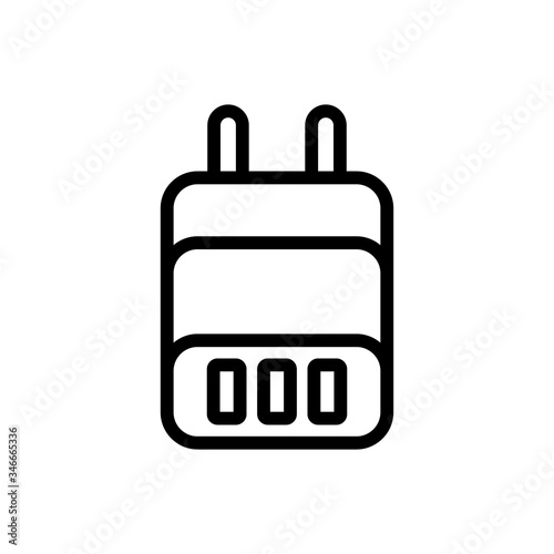 power adapter with plug for three devices icon vector Canvas Print