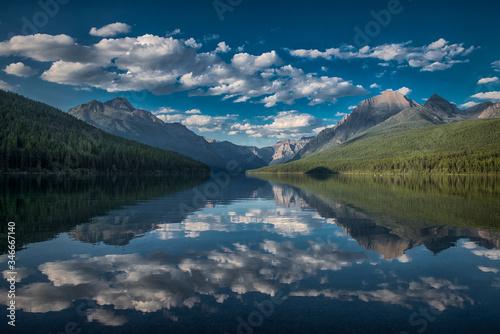 Fényképezés Clouds over Bowman Lake, Glacier National Park, Montana