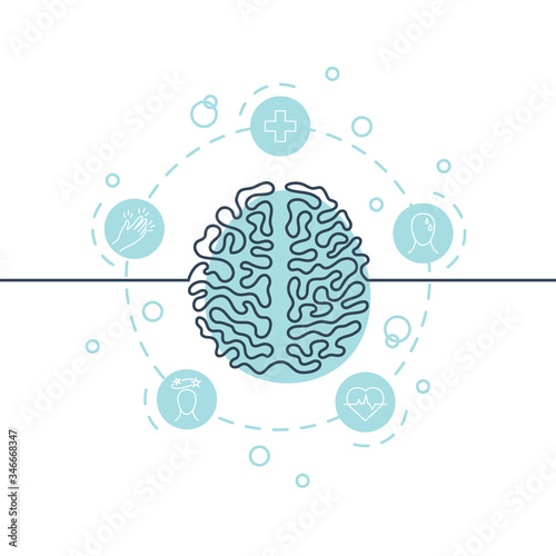 Obraz Brain continuous line icon, simple vector image - fototapety do salonu