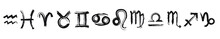 Symbols For Zodiac Signs. Set Of The Astrological Symbols. Black Ink Handwriting. Vector