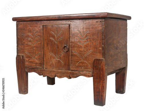 Old wooden sideboard under the lights isolated on a white background Canvas-taulu