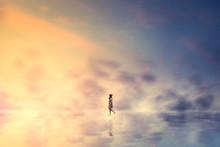 Woman Walking On Clouds Reflec...