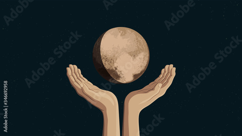 Foto Detailed flat vector illustration of two hands holding Pluto
