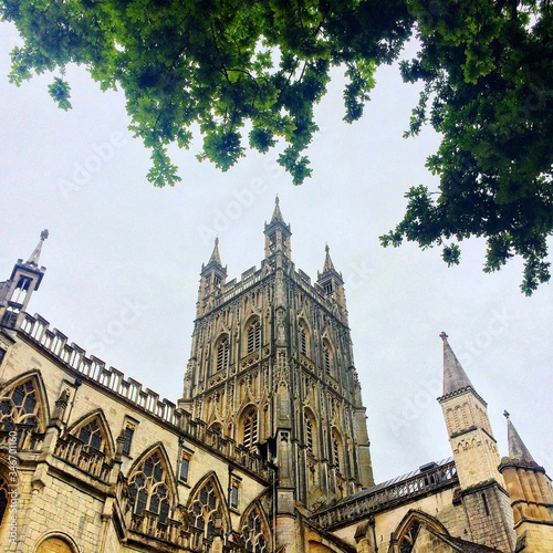 Low Angle View Of Gloucester Cathedral Against Clear Sky Fototapeta