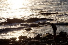 Silhouette Child Walking At Ro...