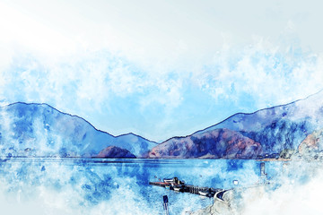 Abstract colorful mountain range and river in Japan on watercolor illustration painting background.