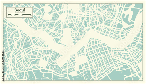 Canvas Print Seoul South Korea City Map in Retro Style. Outline Map.