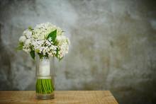 Flower Bouquet In Glass Vase