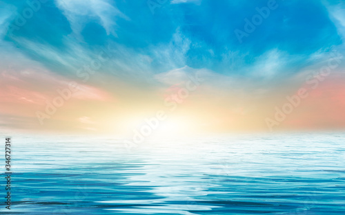 Obraz Seascape, horizon with sunset. Reflection of light in the water. Empty landscape. Abstraction, nature, sea waves. Natural background. - fototapety do salonu
