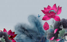3d Illustration, Dark Gray Background, Large Bright Red Water Lilies