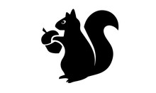 Squirrel Silhouette On White B...