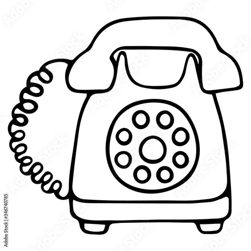 Fototapeta Landline telephone. The device with a disk dialer. A device for receiving and transmitting sound at a distance. Vector illustration. Contour on an isolated white background. Doodle style. Sketch.  obraz