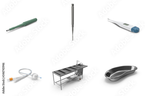 Valokuva Realistic 3D Illustrations - Medical - Biopsy Punch, Medical Chisel, Digital Thermometer, Catheter, Autopsy Table, Kidney Bowl