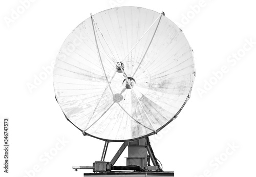 satellite antenna isolated on white background Front view of modern radio commun Canvas Print