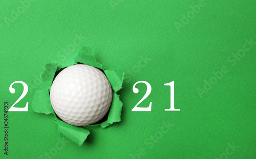Fotografie, Tablou Invitation card design with ball for 2021 golf events