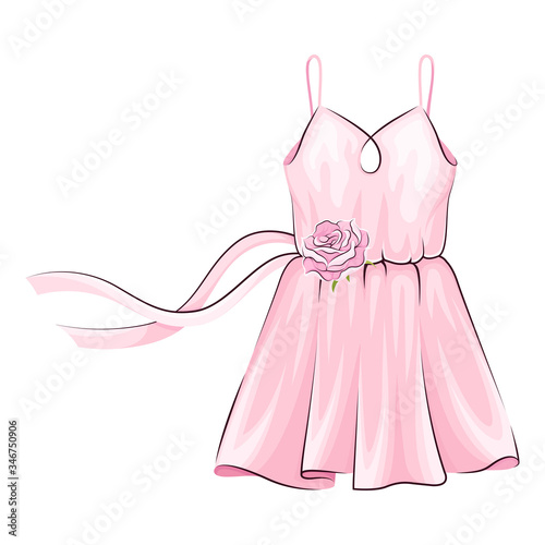 Photo Pink Dress with Flared Skirt and Ribbon Adornment Vector Illustration