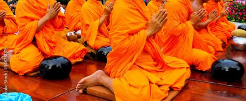 Fototapeta View Of Buddhist Monks Preying