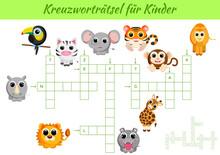 Kreuzworträtsel Für Kinder - Crossword For Kids. Crossword Game With Pictures. Kids Activity Worksheet Colorful Printable Version. Educational Game For Study German Words. Vector Stock Illustration.