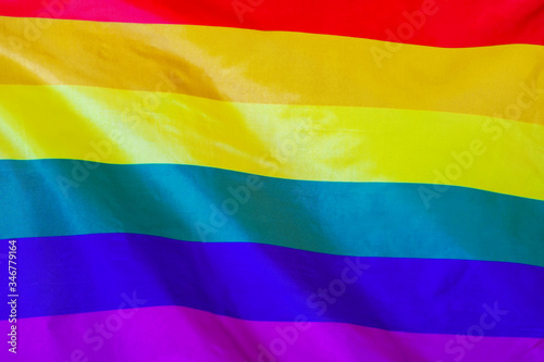 Fototapeta Fabric texture flag of LGBT gay