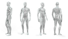 Set Of Male Transparent Shiny Glass (plastic) Mannequin For Clothes. Standing Male Invisible Figure. Set From The Side, Front And Back View. 3d Illustration Isolated On A White Background.