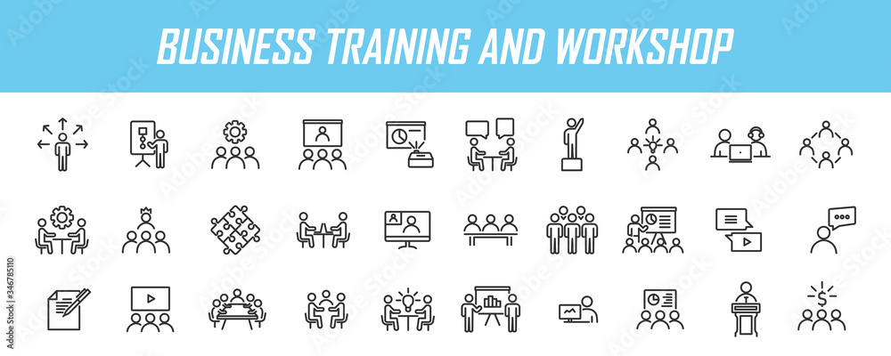 Fototapeta Set of linear business training icons. Workshop icons in simple design. Vector illustration