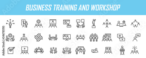Valokuvatapetti Set of linear business training icons