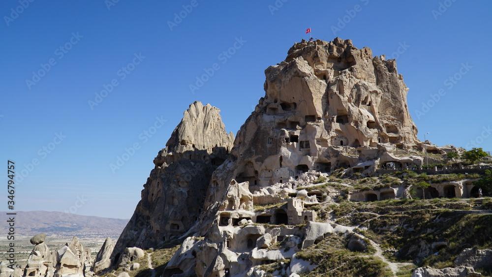 Fototapeta Turcja, skalne miasto, krajobraz, błękitne niebo,
