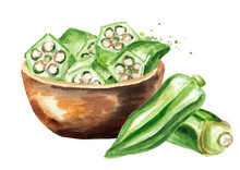 Bowl With Fresh Sliced Okra. Hand Drawn Watercolor Illustration Isolated On White Background