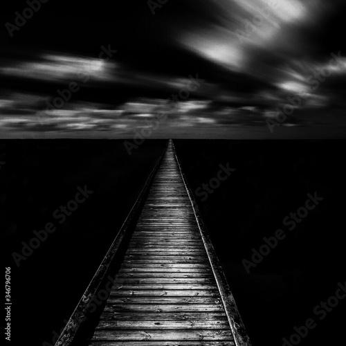 Fototapety, obrazy: Idyllic Shot Of Jetty On Sea Against Sky At Night