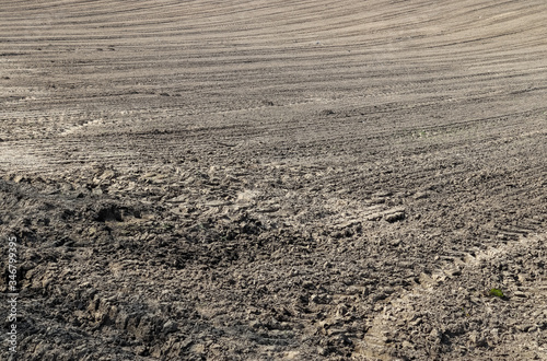 Close up view on agricultural acres with tractor tracks during a drought Canvas Print