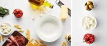 Collage Of Plate, Bottle Of Ol...