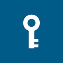 Key Icon On Blue Background. B...