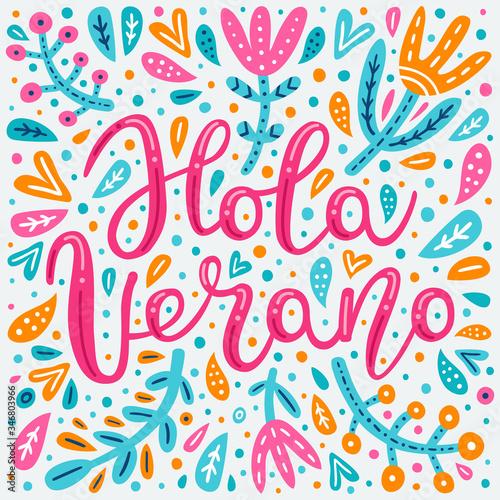 Hello Summer hand drawn lettering inscription in Spanish language Billede på lærred