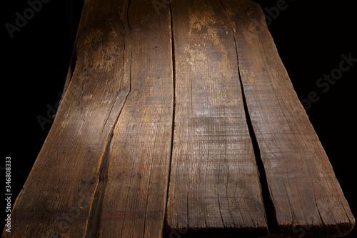 tavole di legno antico  su sfondo nero Canvas Print