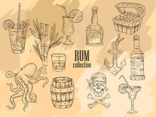 "Vector Hand Drawn ""Rum"" Se..."
