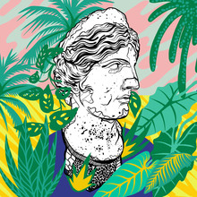 Woman Sculpture With Botanical Plants And Pattern