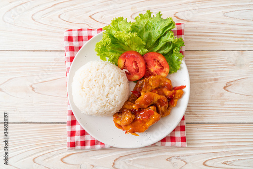 Fried fish topped by 3 flavors chili sauce with rice Fototapeta