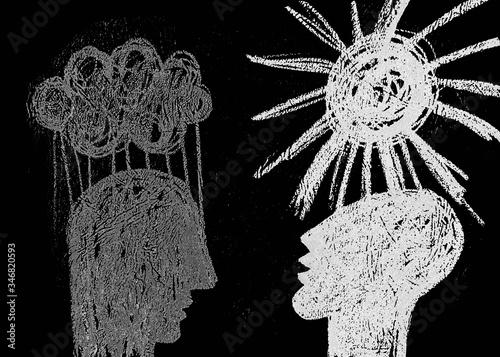 Obraz na plátně Disegno grafico disegnato con matita bianco e  nero