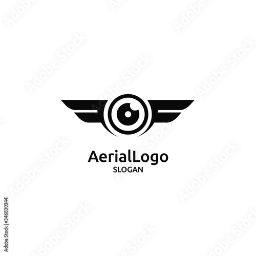 aerial drone photography black abstract logo icon design vector Wall mural