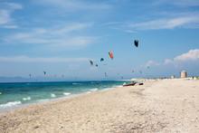 Windy Day On Sea Beach, Kite Surf, Ionian Sea, Lefkada Island, Greece