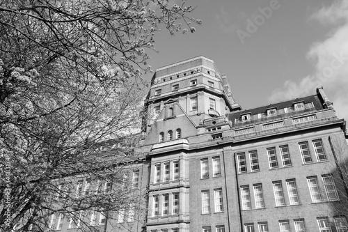 University of Manchester. Black and white retro style.