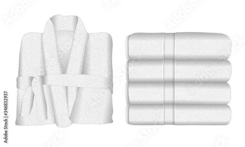 1 peignoir et 2 serviette en éponge blanche, un ensemble de bain, pour le spa ou le sauna Canvas-taulu