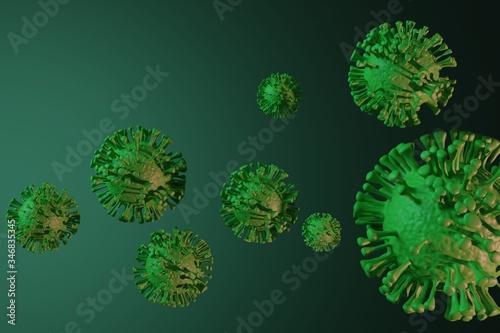 Fotografie, Obraz Virus Coronavirus Covid-19 simulazione modello render